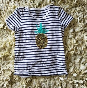 J Crew sequin pineapple striped tee